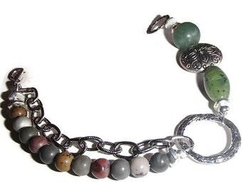 Antique Silver Chain Beaded Bracelet.  Stone, Silver,Chain Bracelet. Eclectic Mixed Component Bracelet
