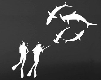 Shark and Divers WALL DECAL  Large