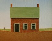 "Farmhouse Painting  6 X 6"" STUDY ORIGINAL Miniature Landscape Folk Cottage Original Art Country, Prim, Birthday, Present, Gift  Anniversary"