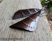 Textured Copper Earrings, Copper Triangles, Sterling Silver Earwires No 8
