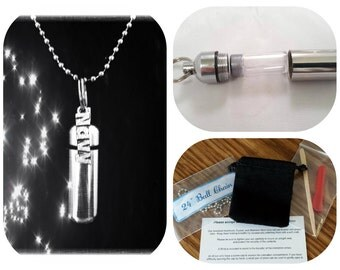 "Complete Set - NAVY Cremation Urn on 24"" Necklace  - Custom Hand Assembled.... with Velvet Pouch and Fill Kit"
