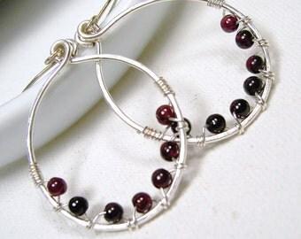 Silver Hoop Earrings Wire Wrapped Garnet Sterling Silver Earwires