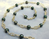 Pearl Bead Chain Green Fresh Water Pearl Beads 15 inches Wire Wrapped in Sterling Silver