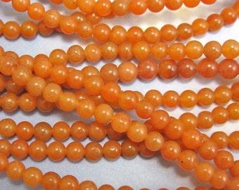 Round Jade Beads 100 pcs 4mm Orange Jade Semi Precious Stone G-19