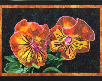 Orange Pansies Original Art Quilt by Lenore Crawford