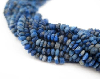 160 Tiny Lapis Lazuli Beads - Gemstone Beads - 100% Authentic Lapis Beads - Jewelry Making Supplies - Made in Afghanistan (LAP-USU-BLU-108)