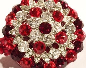 All Swarovski Red Clear Black Crystal & Black Crystal Embellished ID Badge Reel