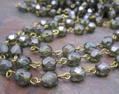 Beaded Rosary Faceted Ocean Green 6mm Czech Glass Link Chain