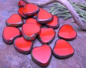 Valentine Red Picasso Chunky Czech Glass Hearts