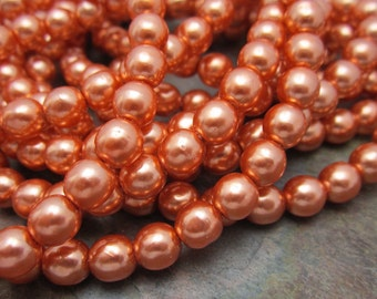 Peach Champagne Pearl Druk 6mm Beads