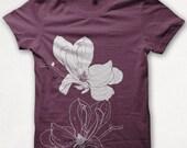 Womens Tshirt, Magnolia Shirt, Screenprinted, Graphic Tee - Bordeaux