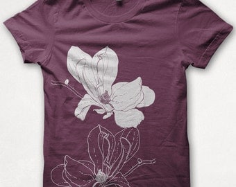 Womens Tshirt, Magnolia Shirt, Screenprinted, Graphic Tee - Bordeaux