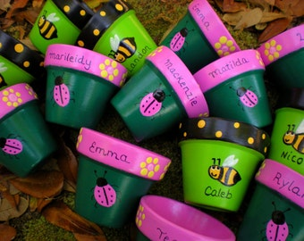 Small Painted Flower Pots - Personalized with Names - Party Favors - Seed Planting - Kids Party Favors