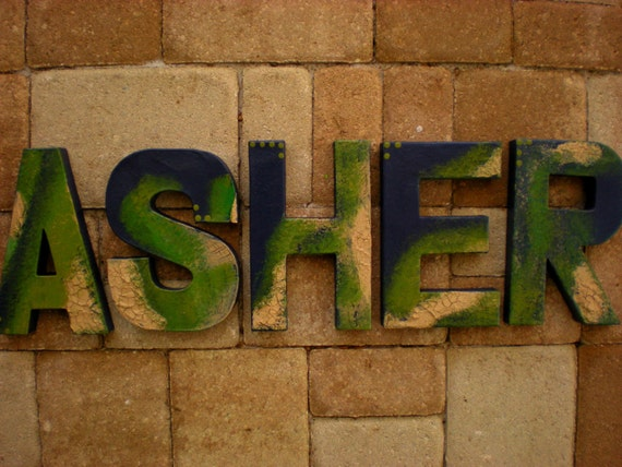 Rustic Wall Letters Boy Name Letters Block Font Vintage