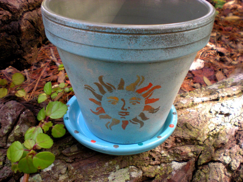 Painted Flower Pot Sun Face Large Planter Aqua And Gray