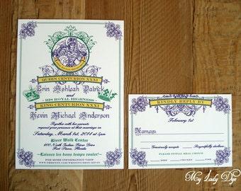 100 Mardi Gras King & Queen New Orleans Wedding Invitations - By My Lady Dye