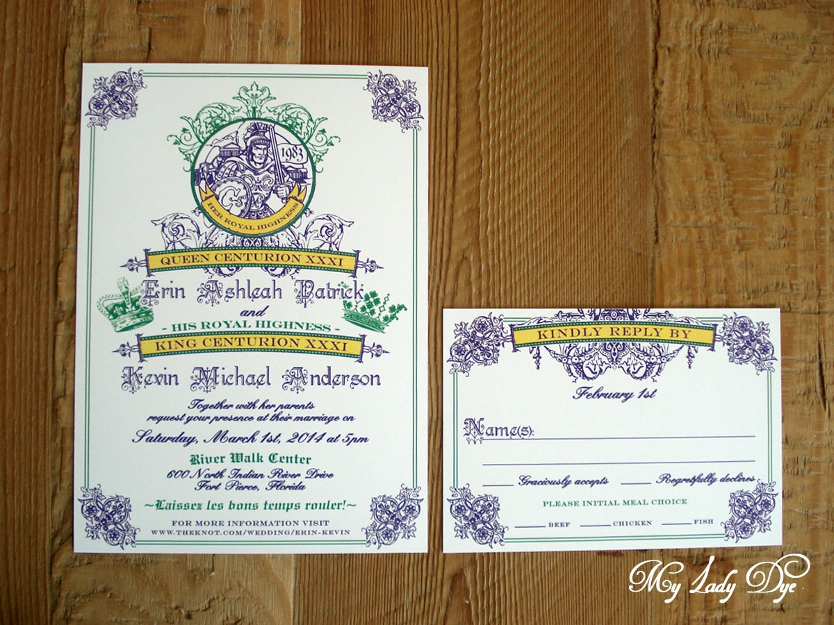 Wedding Invitations New Orleans: 100 Mardi Gras King & Queen New Orleans Wedding Invitations