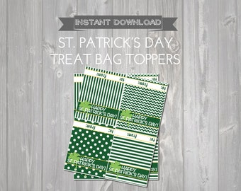 St. Patrick's Day Treat Bag Toppers - Printable St. Patrick's Favors - DIY Printable St. Patrick's Day Bag Topper - Green St. Patrick's Day