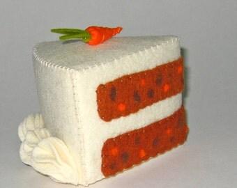 Pretend Felt Play Food - Carrot Cake Slice