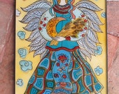 Glass Painting, Ukrainian Angel, Angel