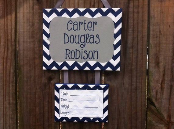 Gray and navy chevron baby boy hospital door by lillouhandmade for Baby boy hospital door decoration