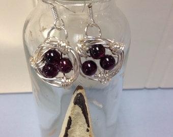 Garnet bird nest earrings