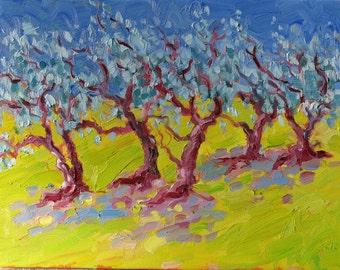 "Dancing Olives, original oil painting on canvas. Yvonne Wagner. Olive Trees. Italy. Landscape. 12 x 16"". Free Shipping to USA."