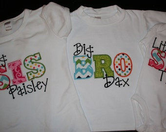 Sibling Big and Little Bro and Sis Set of Three Chevron and Dots