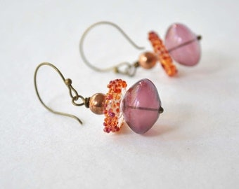 Plum Earrings, Lampwork Earrings, Glass Earrings, Hollow Blown Glass Earrings, Light Weight Dangle Earrings