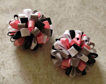 Girl Loopy Bow- Set  of 2- Pink Gray Black Loopy Puff Hair Bows- Pigtail Bows- Baby Girl Bows- Toddler Bows