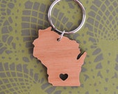 Madison, Wisconsin Love Wood Key Ring