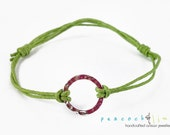 Karma Circle Wish bracelet // green waxed cotton // sterling silver circle wish friendship bracelet // handmade // ready to ship