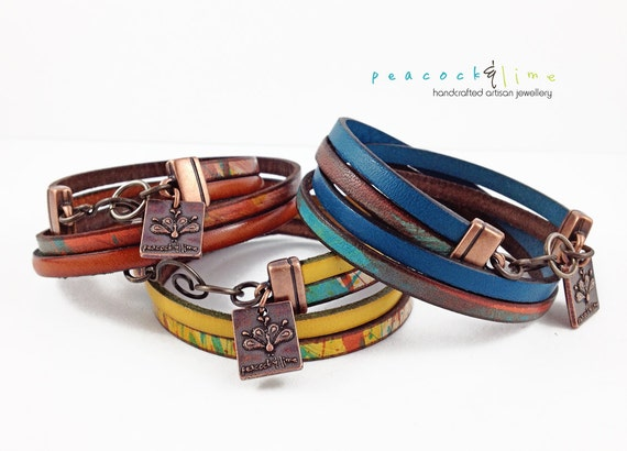 Free Spirit // bohemian style // multi color double wrap leather bracelet // ready to ship