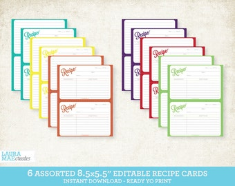 Assorted Printable Recipe Card Pack - Editable Recipe Cards - 8.5x5.5 Recipe Cards - 12 Documents, Instant Download