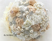 Brooch Bouquet, Champagne, Cream, Ivory, Wedding, Bridal, Jeweled, Lace, Tulle, Crystals, Pearls, Vintage, Gatsby Wedding