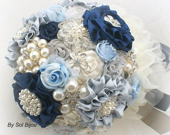 Brooch Bouquet, Navy, Blue, Ivory, Cream, Silver, Navy Bouquet, Elegant Wedding, Wedding Bouquet, Something Blue, Pearls, Vintage Style