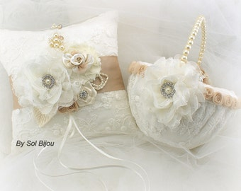 Ring Bearer Pillow, Flower Girl Basket, Ivory, Tan, Beige, Champagne, Gold, Elegant Wedding, Vintage, Pearls, Lace, Crystals, Gatsby Style