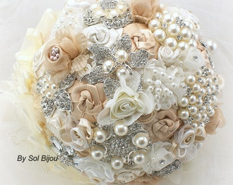 Tan Brooch Bouquet, Champagne, Cream, Ivory, Elegant Wedding, Vintage Style, Gatsby Style, Bridal, Jeweled, Lace, Tulle, Crystals, Pearls