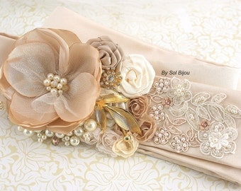 Wedding Sash, Champagne, Ivory, Tan, Cream, Gold, Wedding Reception, Vintage Style, Gatsby Wedding, Elegant Wedding, Pearls, Crystals