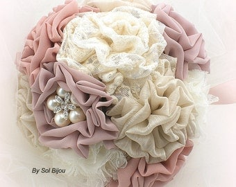 Brooch Bouquet, Ivory, Tan, Blush, Rose, Dusty Rose, Wedding Bouquet, Maid of Honor, Bridesmaids, Vintage Wedding, Crystals, Pearls,  Lace