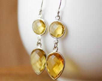 November Birthstone Earrings - Citrine Earrings - Yellow Citrine Jewelry