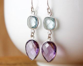 Aqua Quartz & Amethyst Quartz Earrings - Elegant Earrings - 925 Silver
