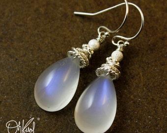 Blue Flash Rainbow Moonstone Earrings - 925 Sterling Silver - Bridal Earrings