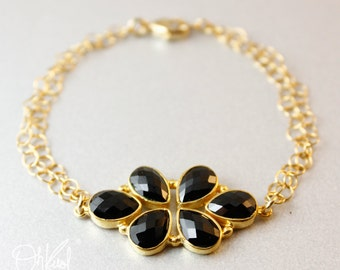 Gold Black Onyx Floral Bracelet - Statement Bracelet - Black and Gold