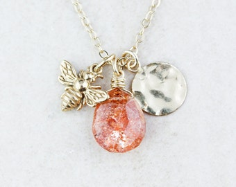 Gold Peach Sunstone & Honey Bee Necklace - Charm Necklace