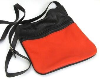 vintage handmade leather shoulder bag   ...  coral and black cross body bag