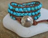 New Mexico Turquoise Leather Beaded Wrap Bracelet