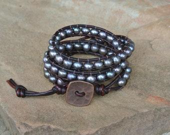 Galaxy Freshwater Pearl Beaded Leather Wrap Bracelet