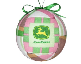 Handmade Pink John Deere Kimekomi Quilted Holiday Christmas Ornament Gift For Girls Ready To Ship Tree Decoration by CraftCrazy4U