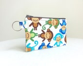 Barrel of Monkeys Zippered Bag / Coin Purse / ID Case / Gadget Pouch with Split Ring - Ready to Ship